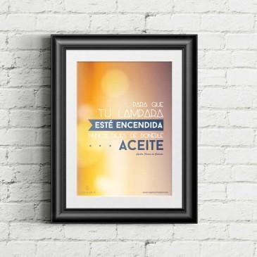 "Cartel ""Aceite"" marco negro ladrillo blanco1"
