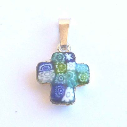 cruz murano azul pequeña
