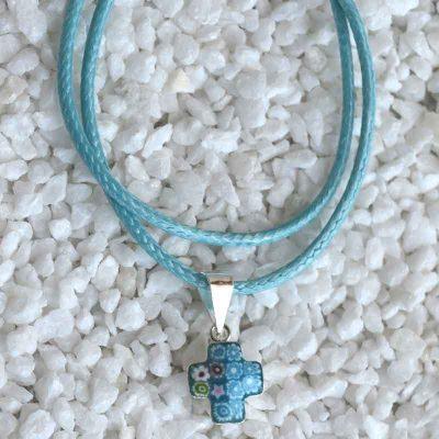 Cruz de Murano y Plata pequeña Azul