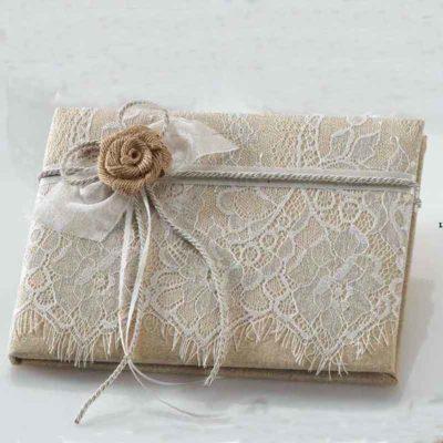 Libro de Firmas puntilla flor rústica