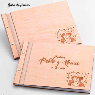 Libro de Firmas madera Novios Personalizado