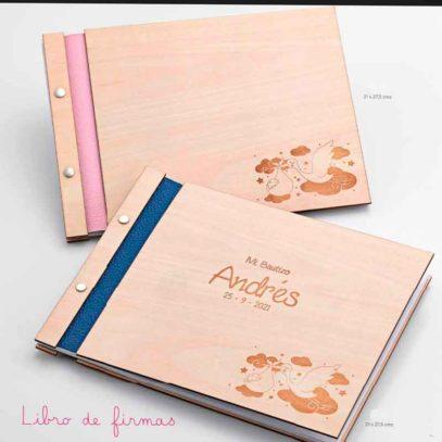 Libro de firmas madera bebé personalizado