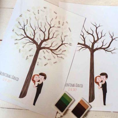 Árbol de huellas boda personalizado